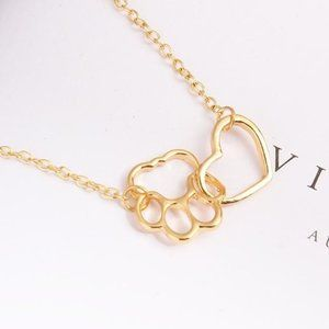Pet Lover Dog Cat Paw Print Gold Love Necklace